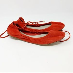 1. State SKKYLAR Red Suede Ankle Tie Ballet Flats